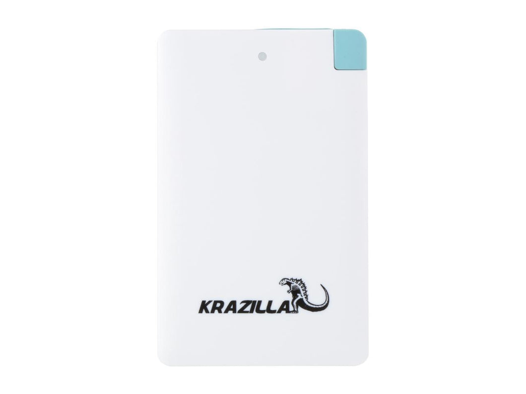 Krazilla White 2500 mAh Fast Charge Mobile Power Bank, New Kzp1005 USB Connector for Android Phones