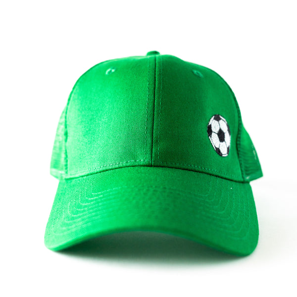 Green Trucker Hat with Embroidered Soccer Ball