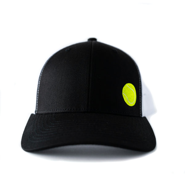 Black Trucker Hat with Embroidered Tennis Ball