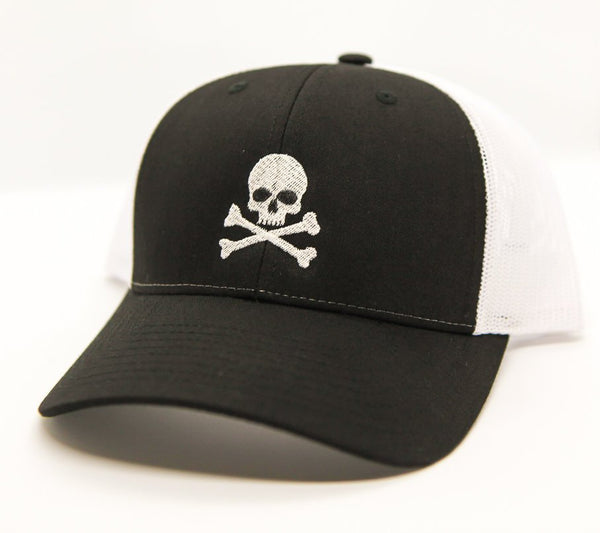 Halloween trucker hat with embroidered skull and crossbones