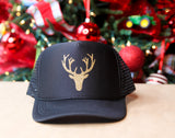 Women's/Youth Trucker Hat with Gold Deer