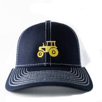Toddler/Child/Youth Trucker hat with Embroidered Yellow Tractor