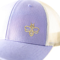 Women's Trucker Hat with Embroidered Gold Bee