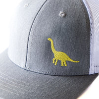Toddler/Youth Embroidered Trucker Hat with Yellow Dinosaur