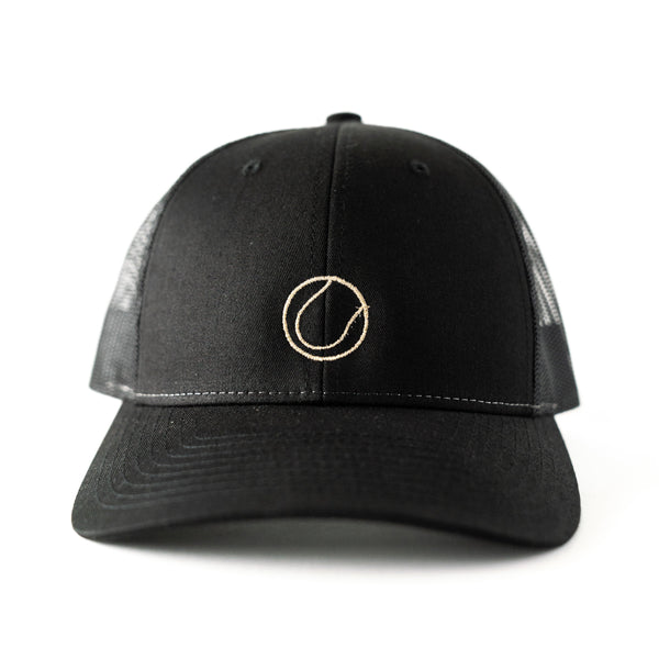 Embroidered Black Trucker Hat with Gold Metallic Tennis Ball