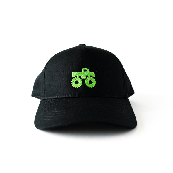 Black Trucker Hat with Embroidered Green Monster Truck