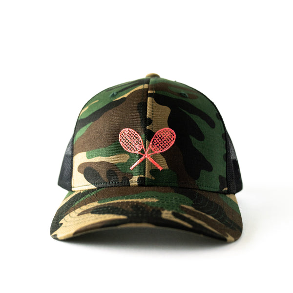 Women's Camo Trucker Hat with Embroidered Pink Tennis Racquets