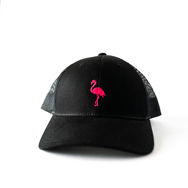 Toddler/Youth/Kids Black Trucker hat with Embroidered Pink Flamingo.