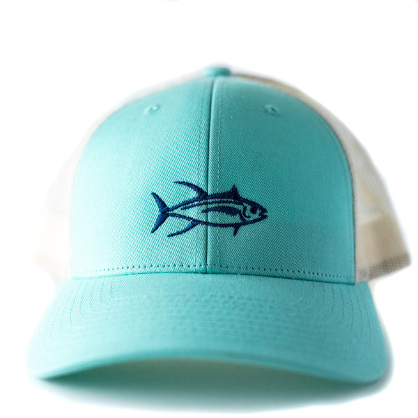 Fish trucker hat, women's fit with embroidered tuna fish