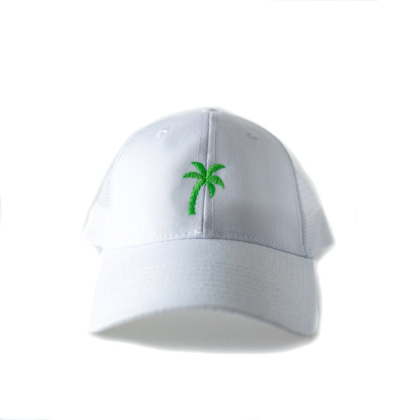 White trucker hat with Embroidered Green Palm Tree. The perfect beach or pool hat!