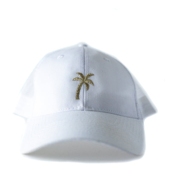 Women's Trucker Hat with embroidered Gold Palm tree, by Driftwood Design Company. Perfect hat for the beach or pool.