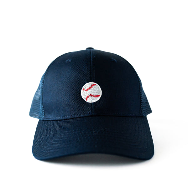 Navy Trucker Hat with Embroidered Baseball