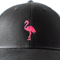 Women's Trucker hat with Embroidered Pink Flamingo.