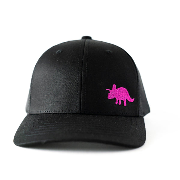 Toddler/Youth/Child's Black Classic Trucker Hat with Pink Embroidered Triceratops Dinosaur