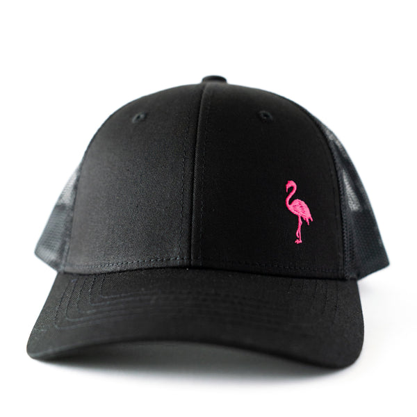Toddler/Youth/Child Embroidered Black Trucker Hat with Pink Flamingo