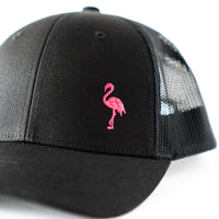 Embroidered Black Trucker Hat with Pink Flamingo