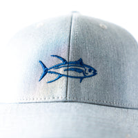 Fish trucker hat, youth/kids/toddler fit with embroidered tuna fish