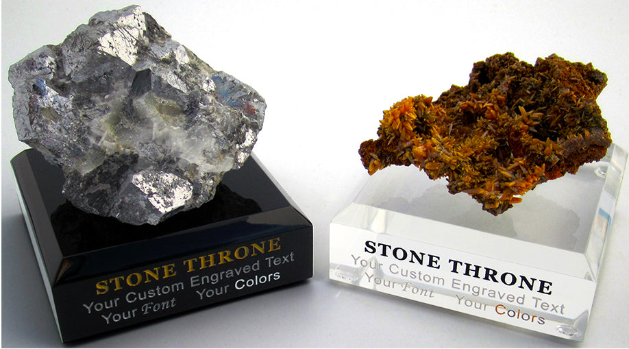 Skutterudite and Wulfenite Stone Throne Bases