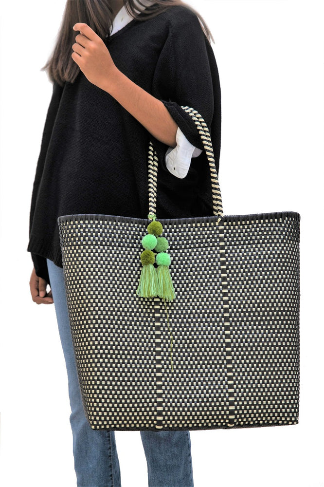 Large Open Tote Black / Bone