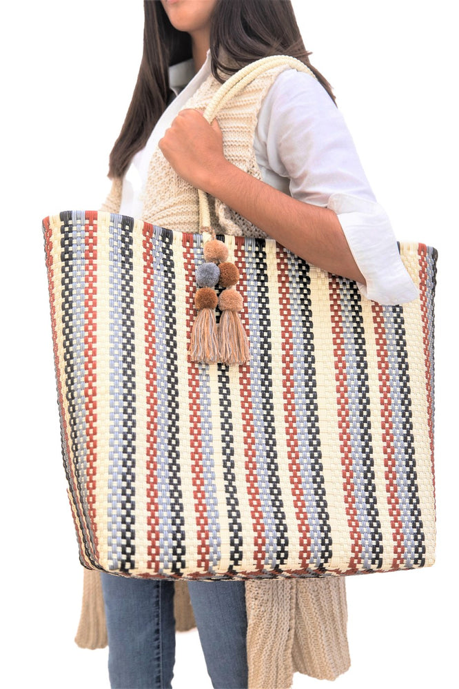 Large Open Tote Red Striped Multi