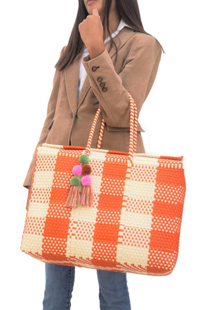 Load image into Gallery viewer, Bombon Tote Bone / Orange Plaid