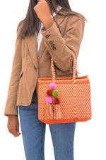 Bombon Tote Mini Orange / Bone