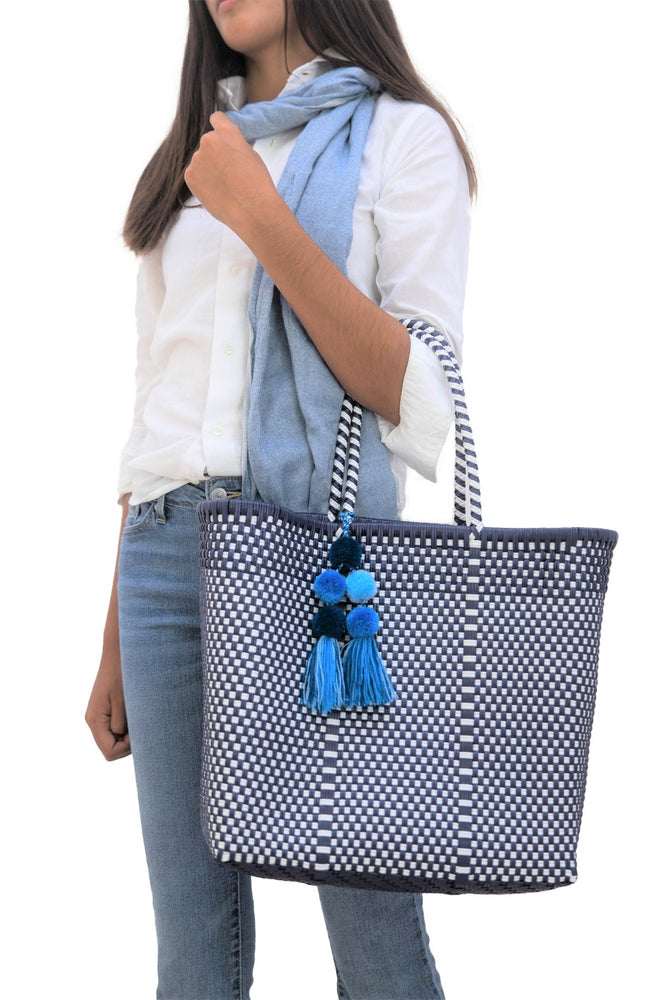 Medium Open Tote Navy / White