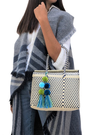 Load image into Gallery viewer, Bombon Tote Mini Bone / Navy
