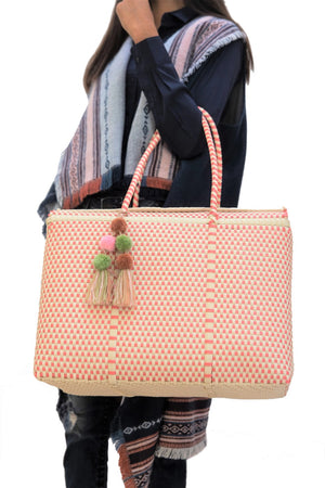 Load image into Gallery viewer, Bombon Tote Bone / Coral