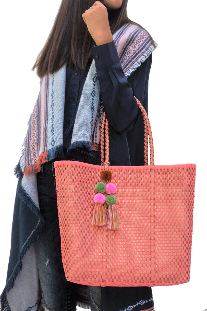 Medium Open Tote Coral / Gold