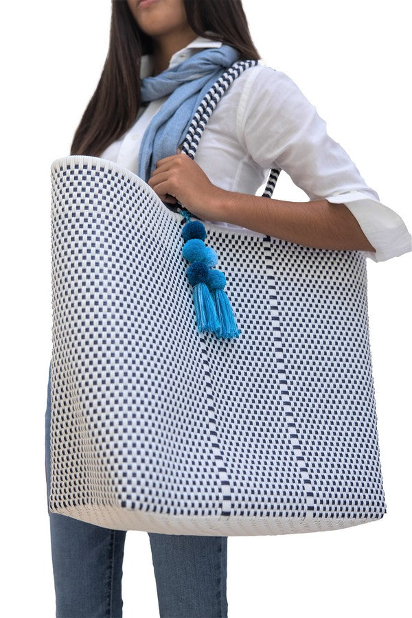 Large Open Tote White / Navy