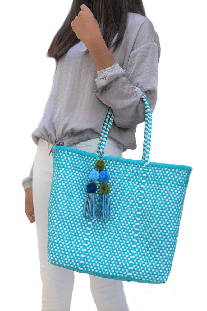 Medium Open Tote Turquoise / White