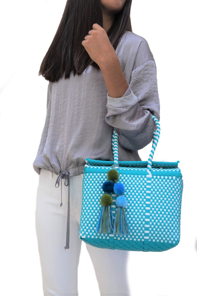 Load image into Gallery viewer, Bombon Tote Mini Turquoise / White
