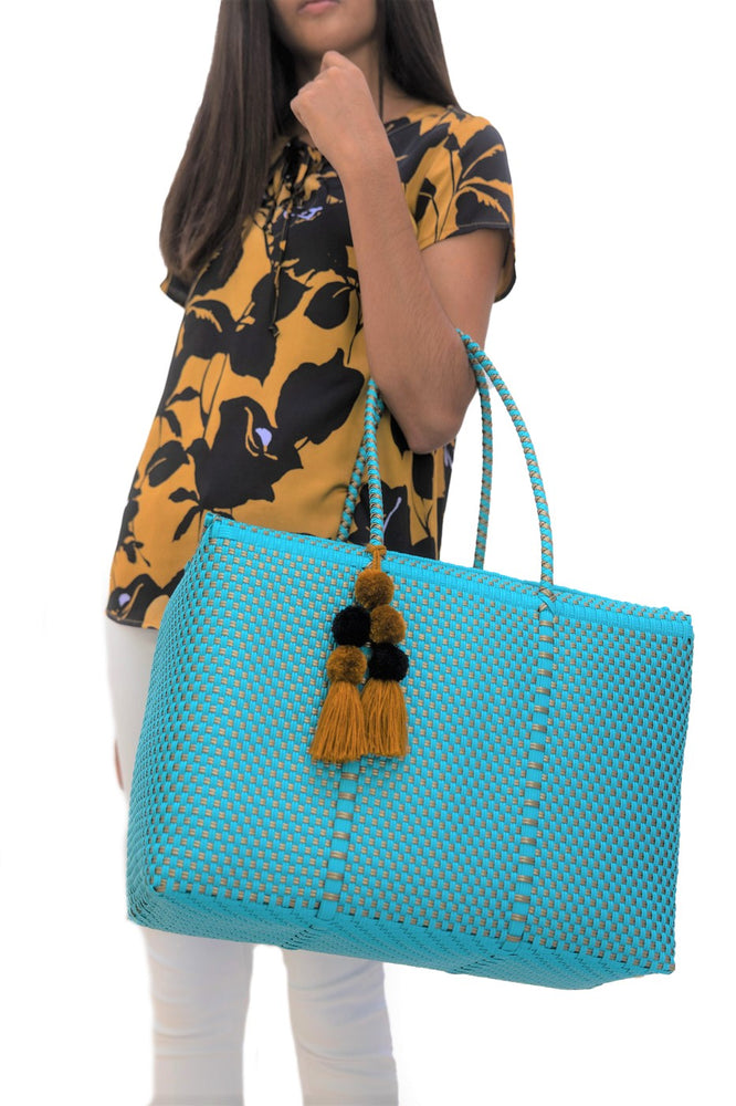 Bombon Tote Turquoise / Gold