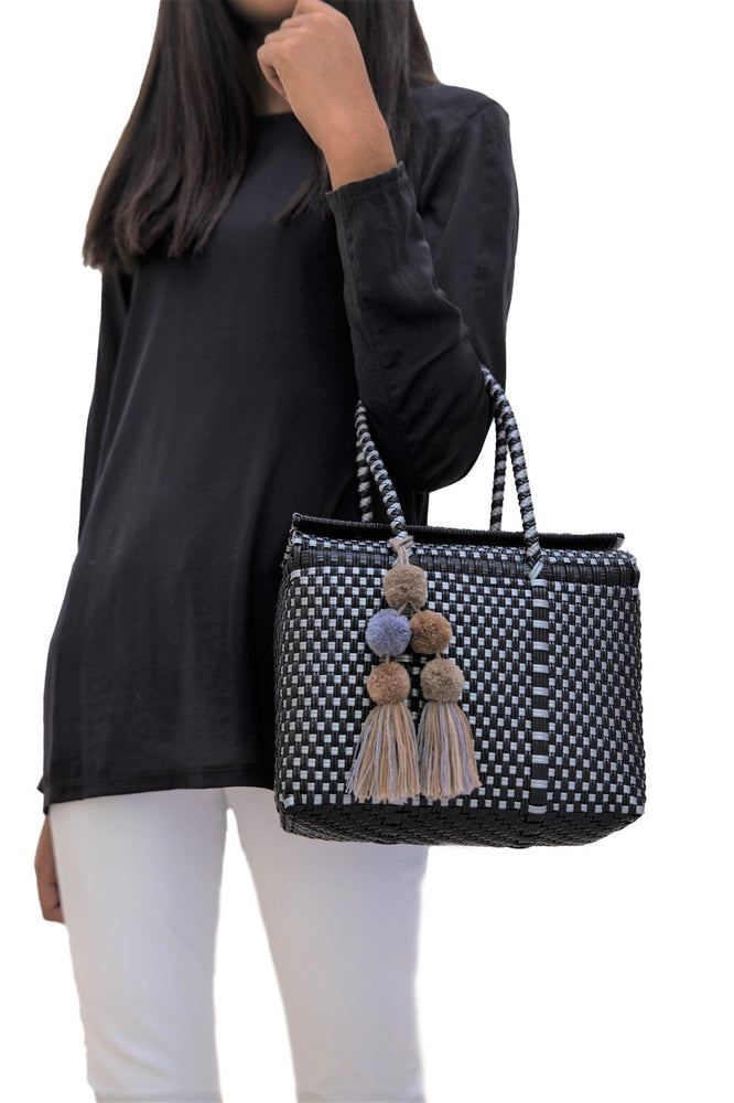 Bombon Tote Mini Black / Silver