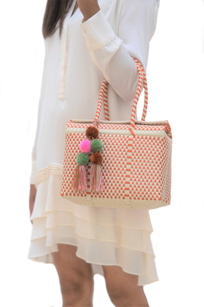Load image into Gallery viewer, Bombon Tote Mini Bone / Orange