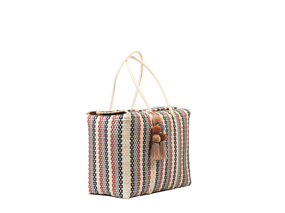 Load image into Gallery viewer, Bombon Tote Red Striped Multi