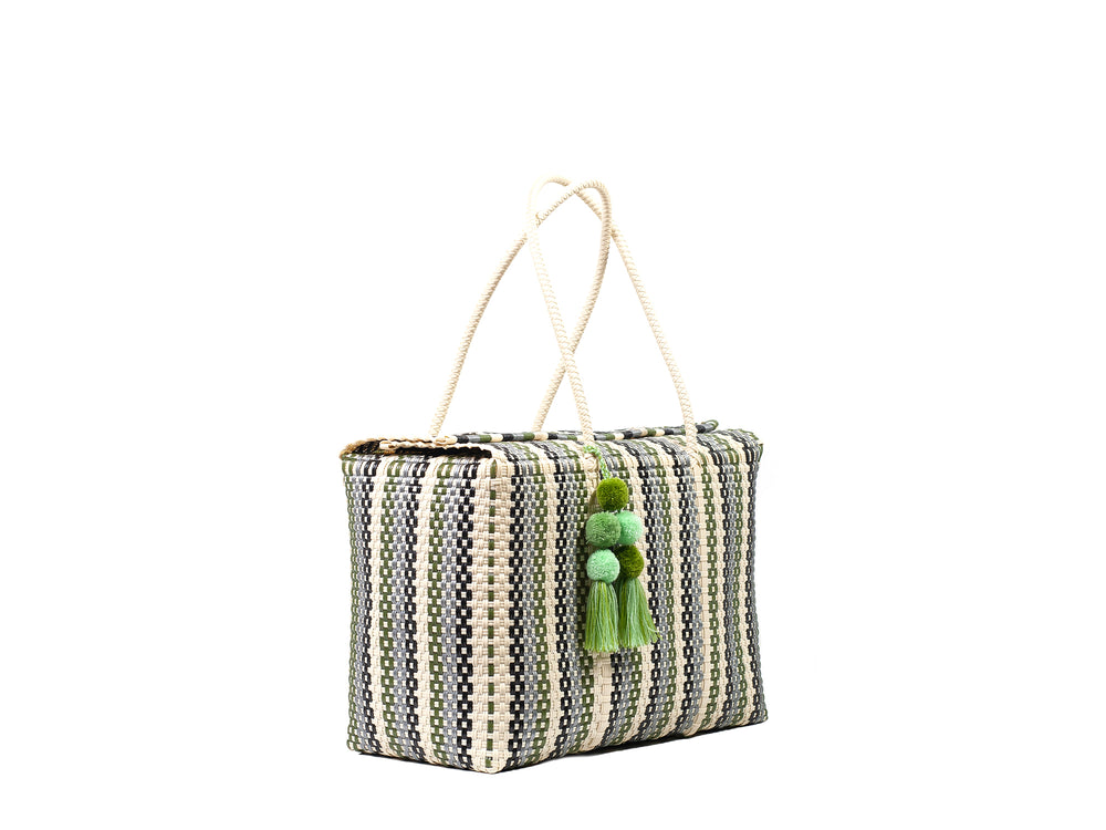 Load image into Gallery viewer, Bombon Tote Green Striped Multi