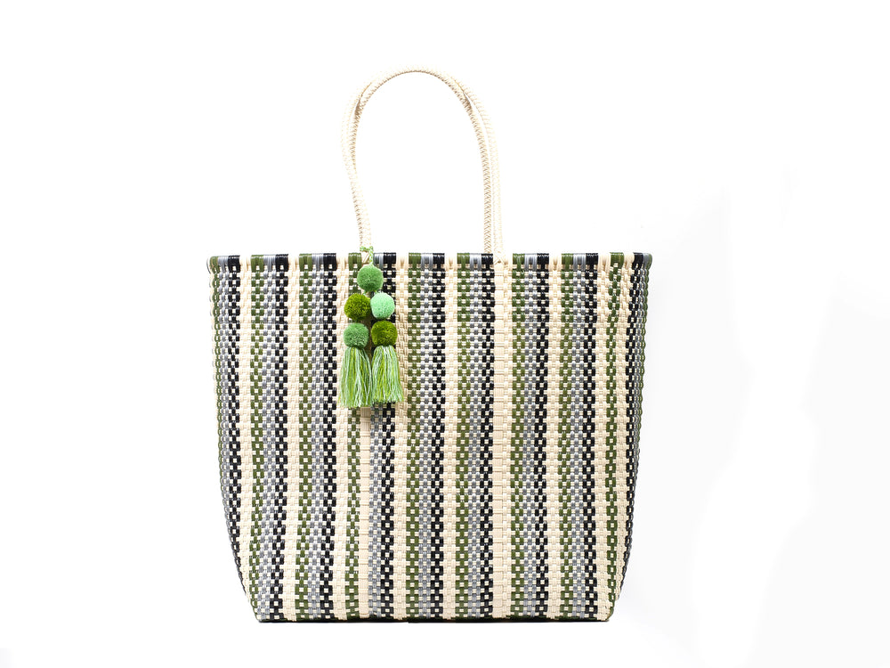 Large Open Tote Green Striped Multi