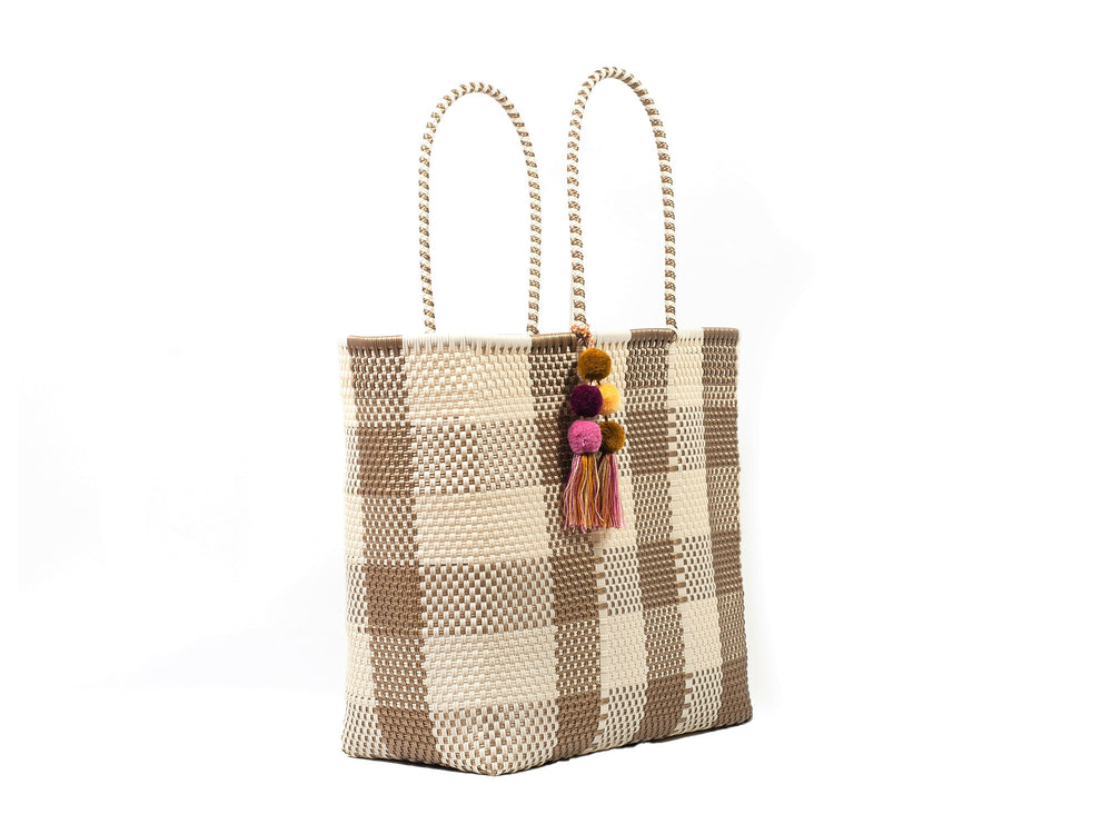 Large Open Tote Bone / Gold Plaid