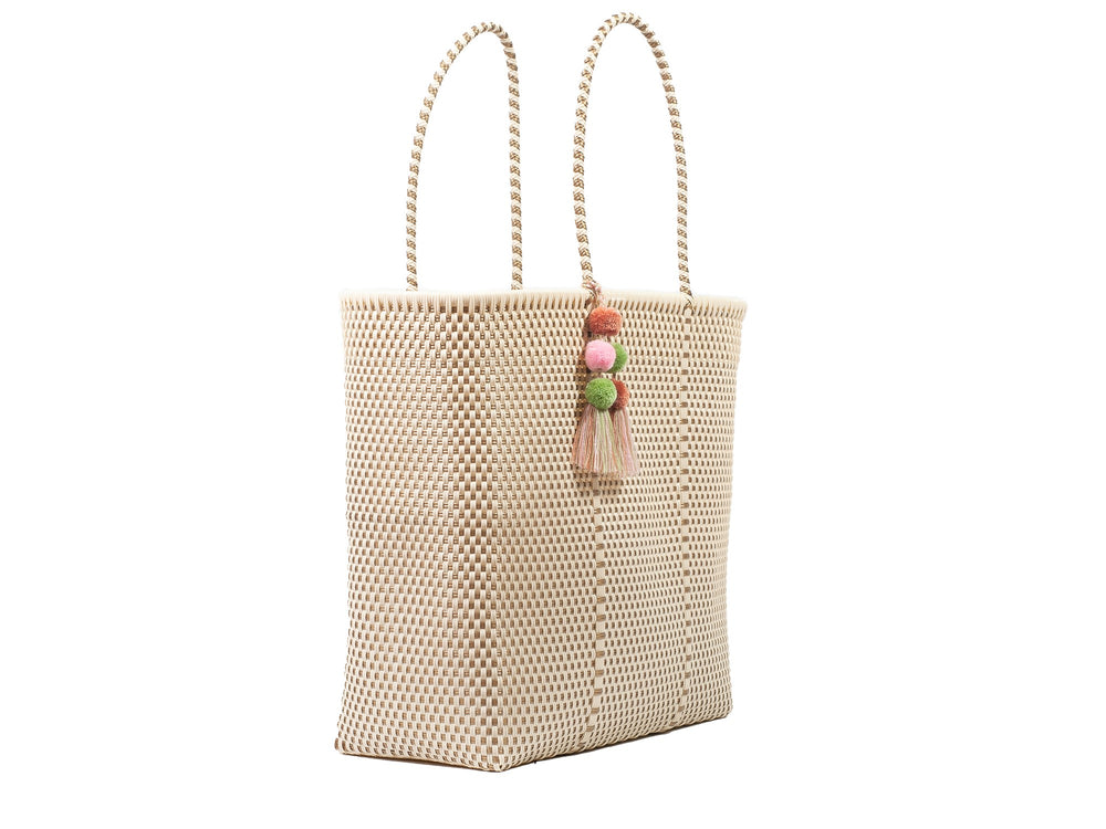 Large Open Tote Bone / Gold