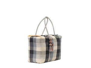 Bombon Tote Bone / Silver / Black Plaid