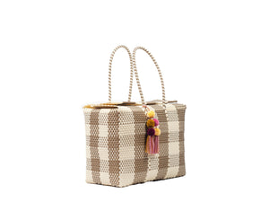 Bombon Tote Bone / Gold Plaid