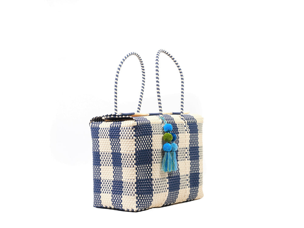Bombon Tote Bone / Navy Plaid