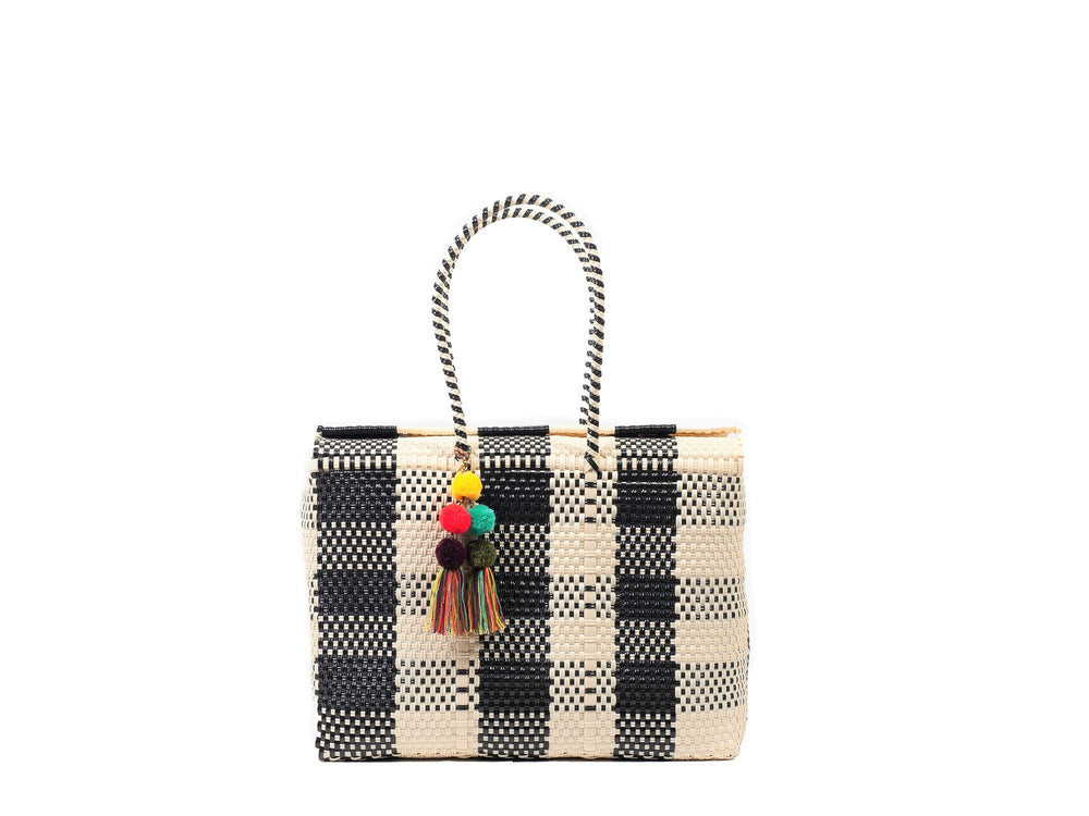 Load image into Gallery viewer, Bombon Tote Bone / Black Plaid