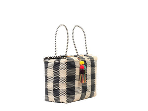 Bombon Tote Bone / Black Plaid