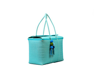 Load image into Gallery viewer, Bombon Tote Turquoise / White