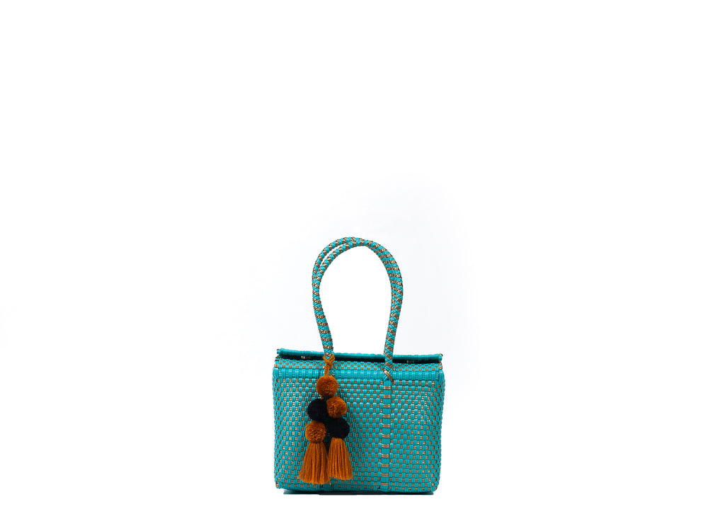 Load image into Gallery viewer, Bombon Tote Mini Turquoise / Gold