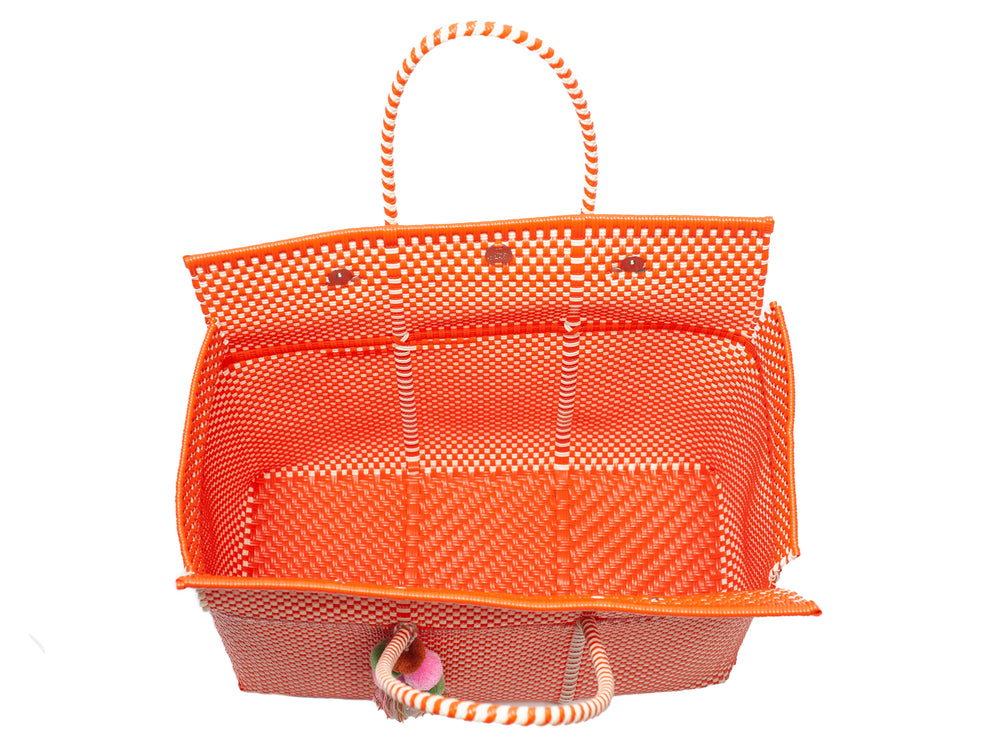 Load image into Gallery viewer, Bombon Tote Orange / Bone