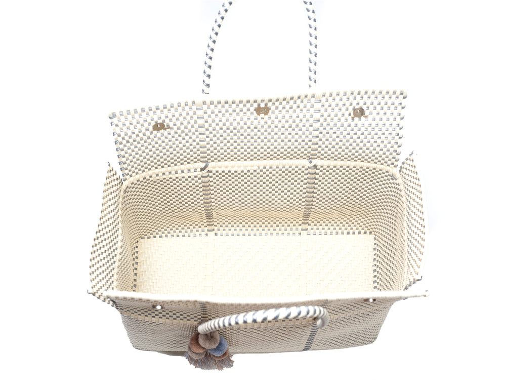 Load image into Gallery viewer, Bombon Tote Bone / Silver